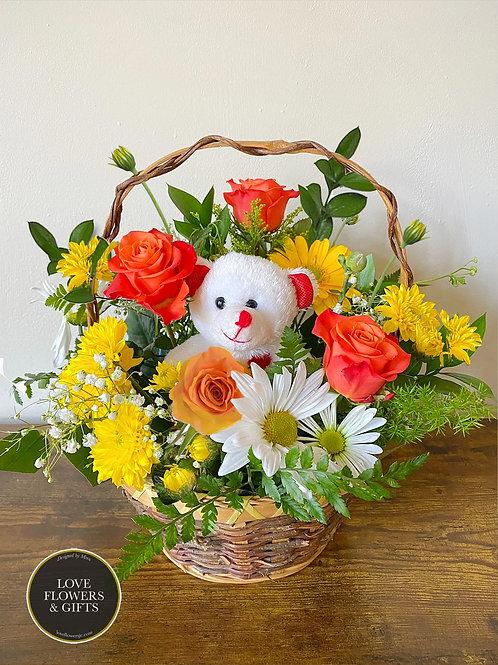 Delightful Teddy Basket (YEL/ORG)