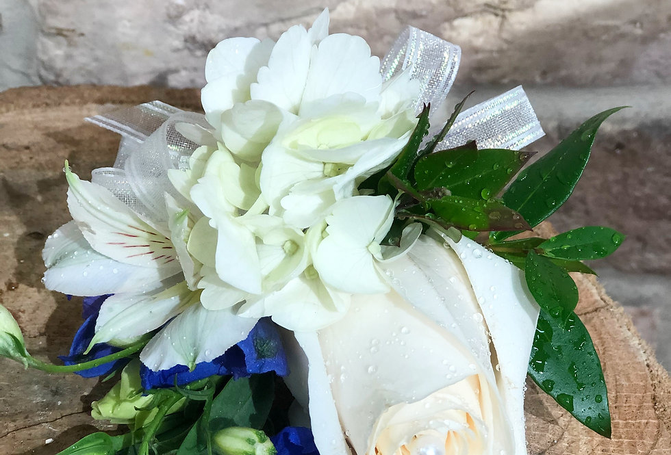 White and Blue Corsage/ Hand Bouquet