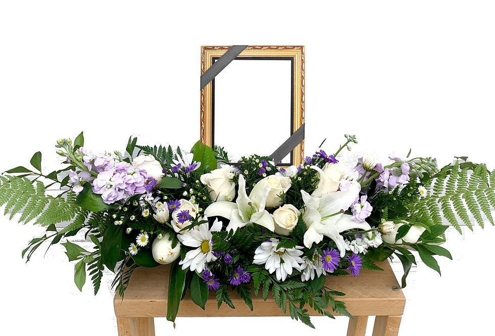 Purple and White Long Centerpiece