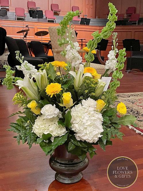 Funeral Flowers in Planter Urn (Med)
