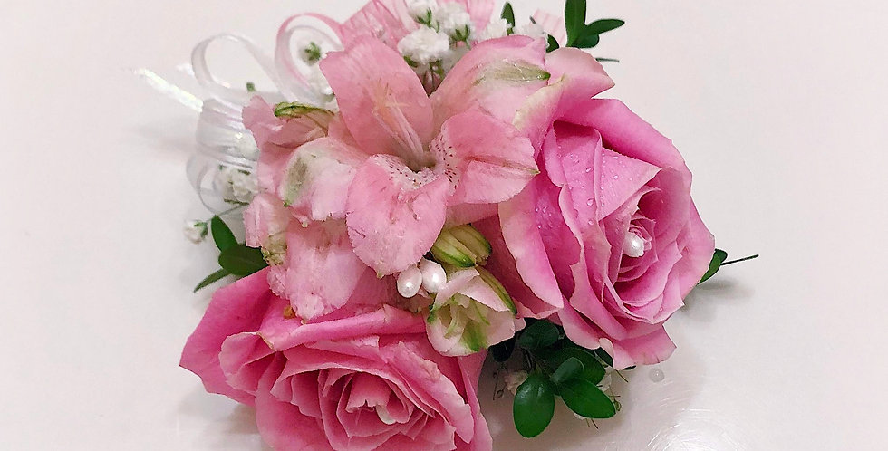 Pink Roses and Astromeria Corsage/Boutonniere