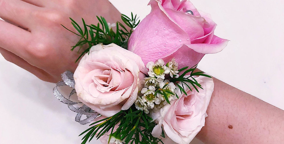 Pink with Greens Corsage and Boutonniere