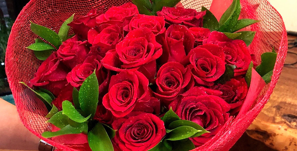 24 Red Roses Hand-tied Bouquet