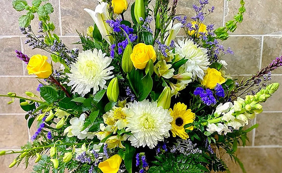 Funeral Flowers in Planter Urn (Tall)