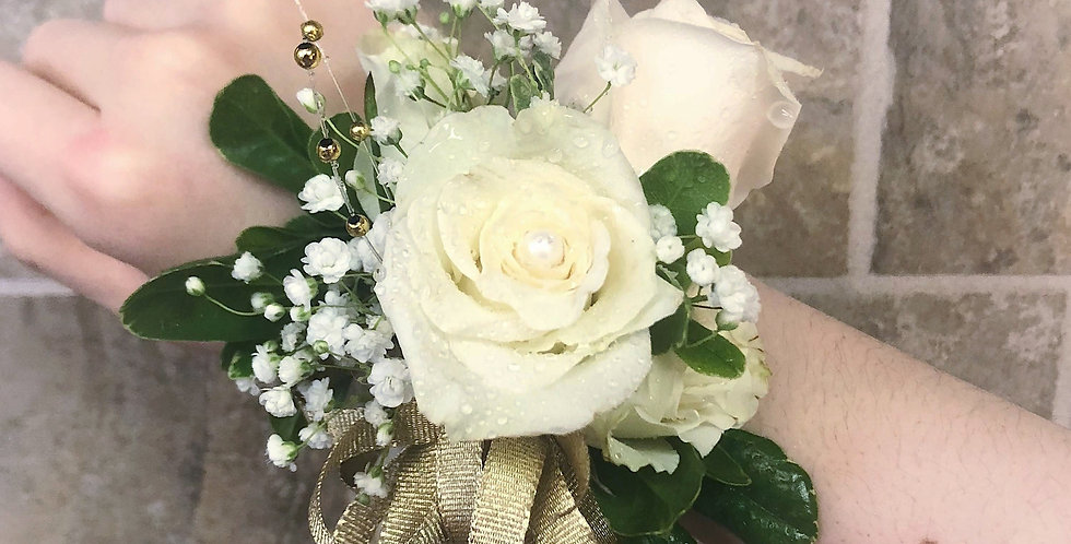 White Rose and Light Gold Corsage/Boutonniere