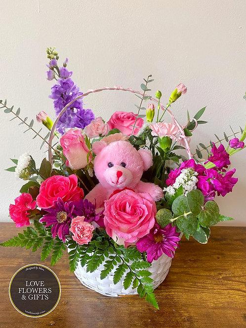 Delightful Teddy Basket (PNK/PRPL)