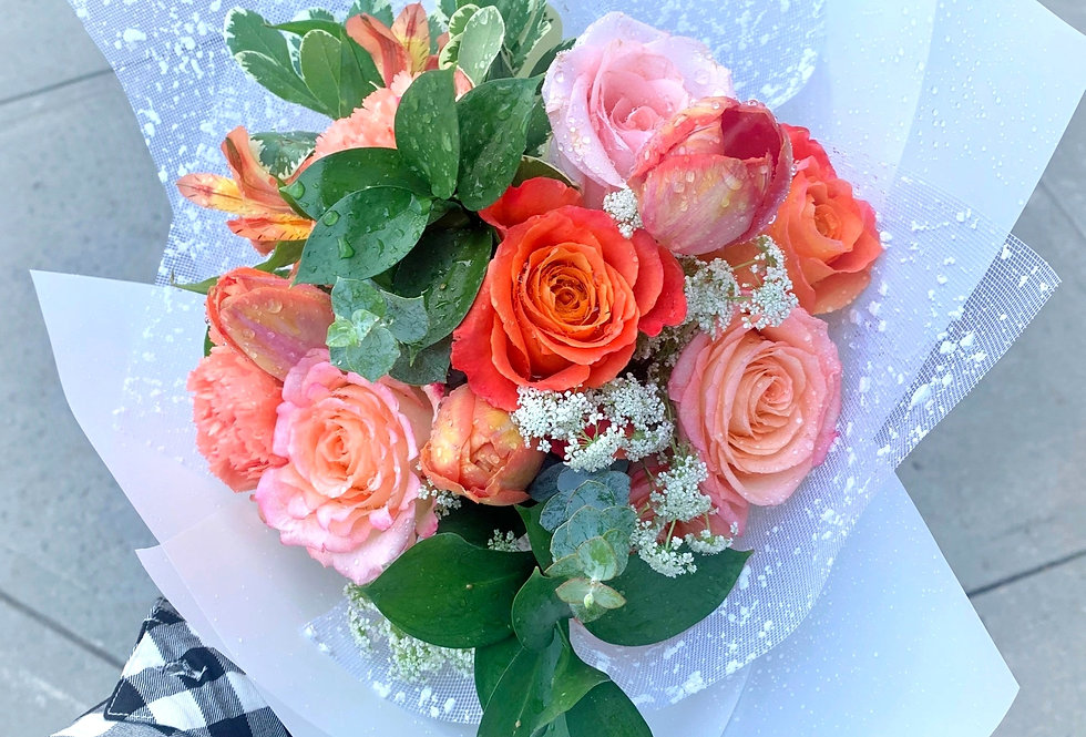 Speckled Coral Hand-tied Bouquet