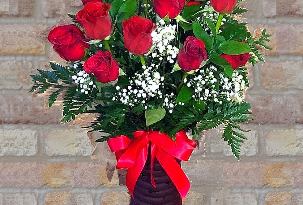 Radiant Dozen Red Roses Bouquet