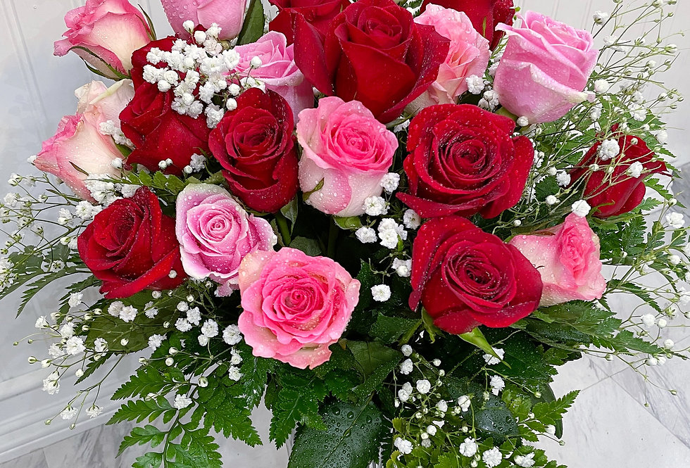Fresh Red and Pink Roses