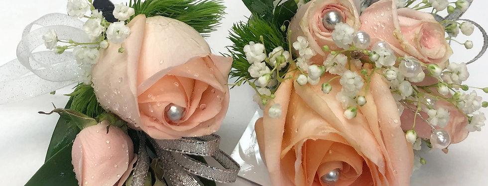 Peach Rose Corsage/Boutonniere
