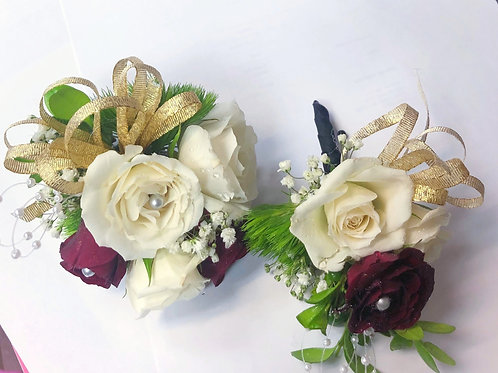 White & Red Corsage/Boutonniere