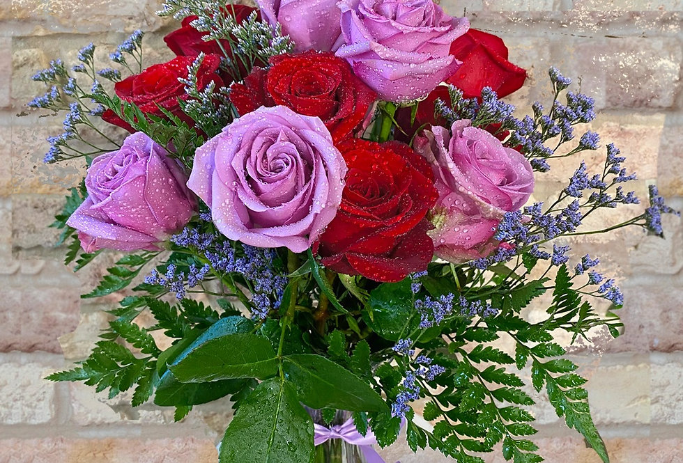 Dozen Purple and Red Roses