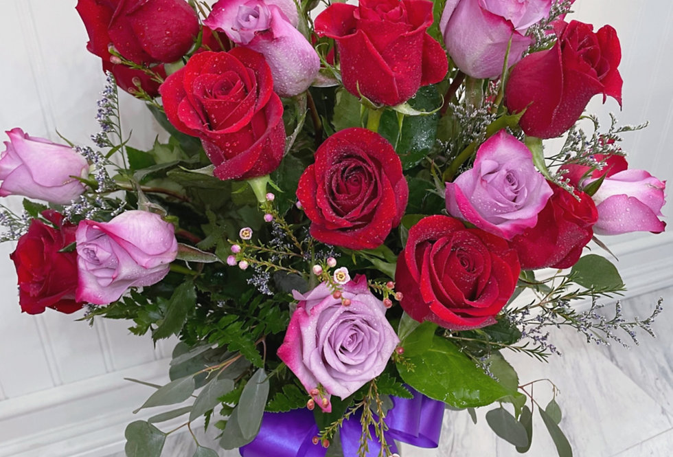 Fresh Red and Purple Roses