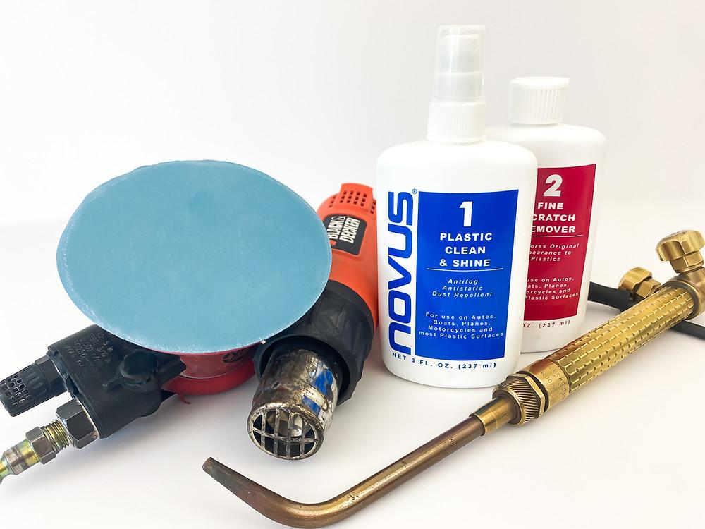 produits nettoyage Novus, sableuse orbitale, pistolet air chaud heat gun flamme torche polissage