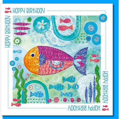 Happy Birthday Fish Christian Greetings Card
