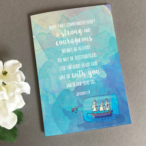 Be Strong And Courageous Christian Greetings Card