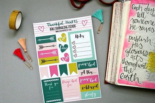 Thankful Hearts Bible Journaling Stickers Sheet of 20