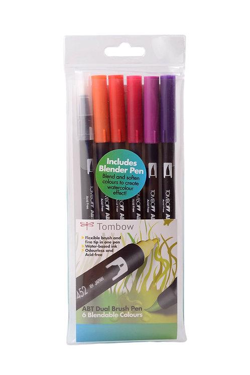 Tombow ABT Dual Brush Pens Set of 6 Sunset Colours