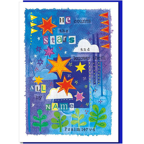 He Counts The Stars Watercolour Christian Greetings Card