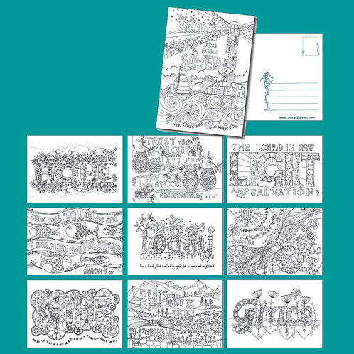 Images Of Grace Christian Colouring Postcards