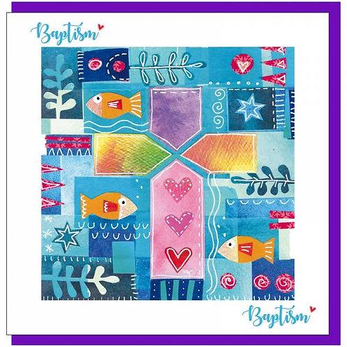 Baptism Colourful Cross Christian Greetings Card
