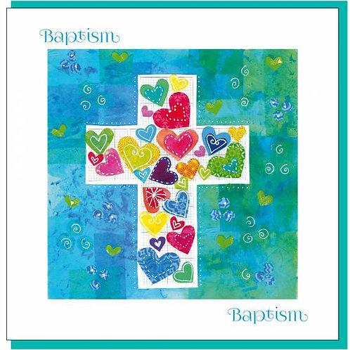 Baptism Coloured Hearts Cross Christian Greetings Card