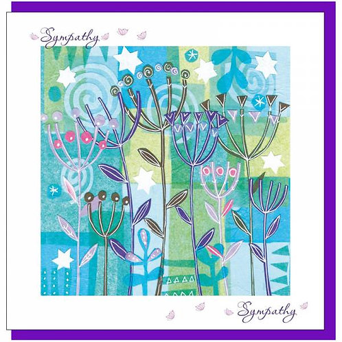 With Sympathy Blue Flowers Christian Greetings Card