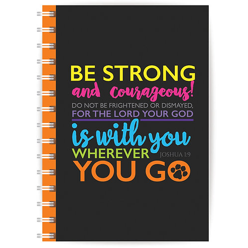 Be Strong And Courageous! A5 Wirebound Christian Notebook