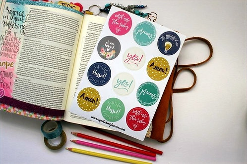 Yes And Amen Bible Journaling Stickers Sheet of 12