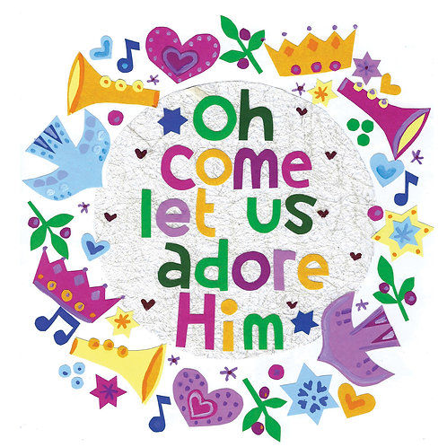 Oh Come Let Us Adore Him Christian Christmas Cards