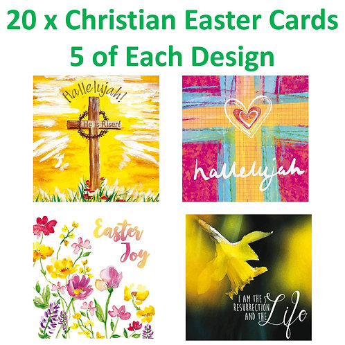 20 x Christian Easter Greetings Cards with Bible Verse 5 of Each Design