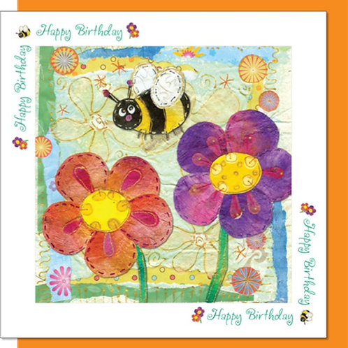 Happy Birthday Bee and Flowers Christian Greetings Card
