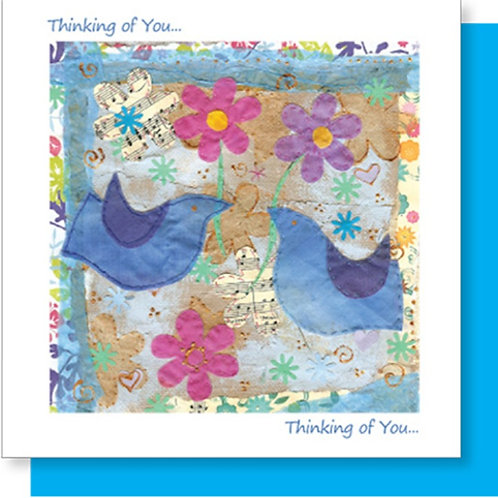 Thinking Of You Blue Birds Christian Greetings Card
