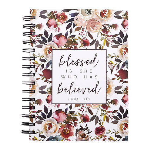 Blessed Is She Floral Hardback Wirebound Christian Notebook