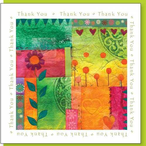 Thank You Patchwork Christian Greetings Card