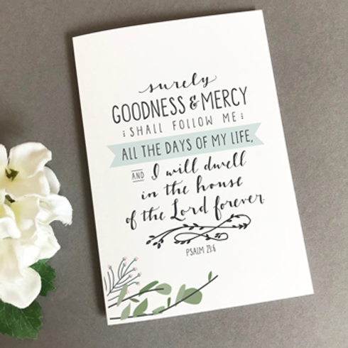 Surely Goodness And Mercy Christian Greetings Card