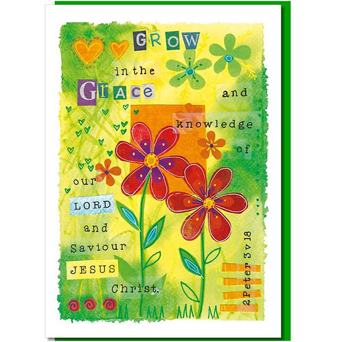Grow In Grace And Knowledge Watercolour Christian Greetings Card