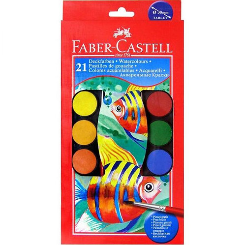 Faber Castell 21 Watercolours Paints in Case with Brushes
