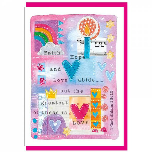 Faith Hope And Love Watercolour Christian Greetings Card