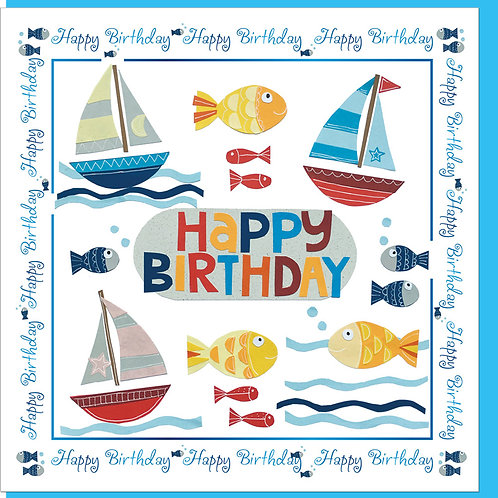 Happy Birthday Fish and Boats Christian Greetings Card