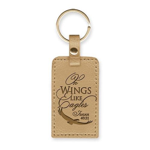 On Wings Like Eagles LuxLeather Christian Keyring