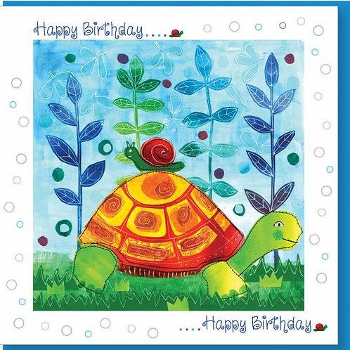 Happy Birthday Tortoise & Snail Christian Greetings Card