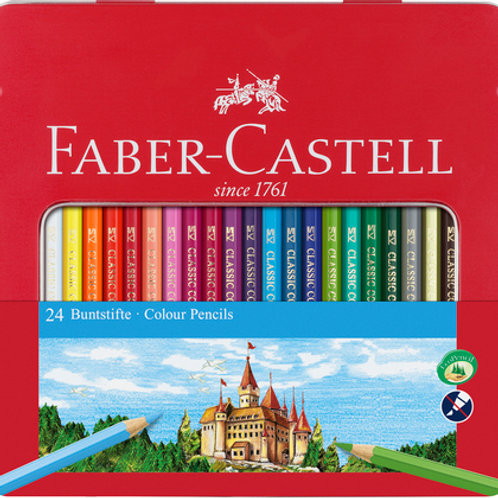 Faber Castell 24 Colouring Pencils in Metal Case