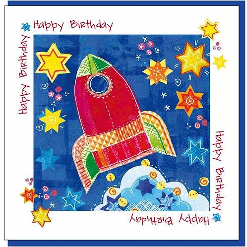Happy Birthday Space Rocket Christian Greetings Card