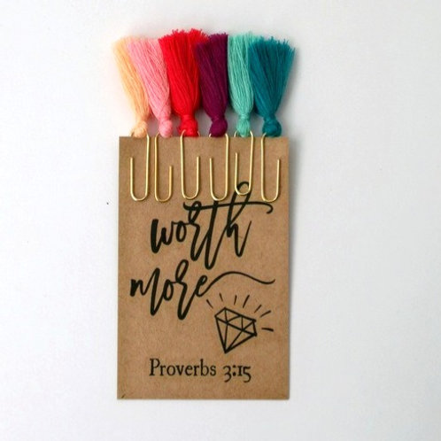 Colourful Cotton Tassel Bible Journaling Paperclips Set of 6