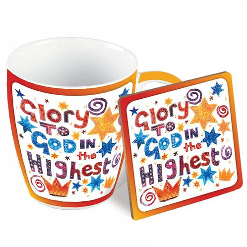 Glory To God In The Highest Christian Mug and Coaster Gift Set