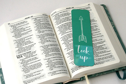 Look Up Arrow In Green Mini Metal Bookmark