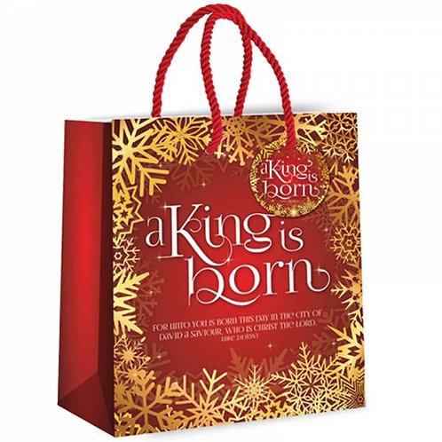A King is Born Christian Christmas Gift Bag