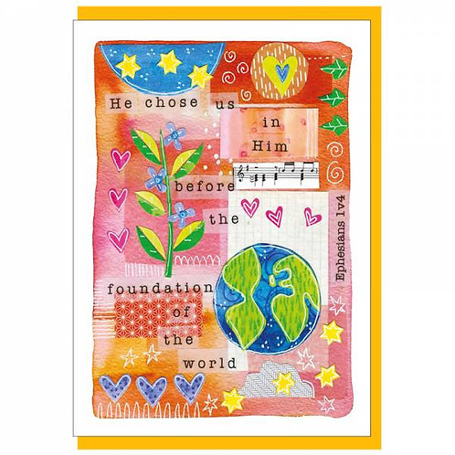 Chosen Before The Foundation Watercolour Christian Greetings Card