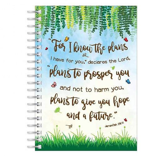 For I know the Plans A5 Wirebound Christian Notebook